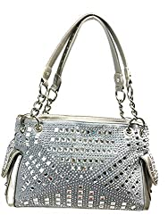 Gem Studded Rhinestone Concealed and Carry Pewter Purse