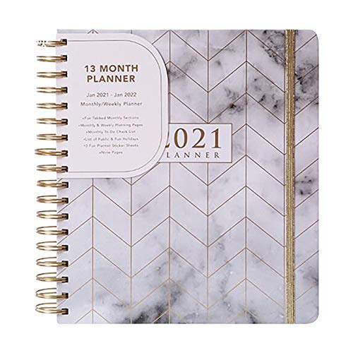 Diary 2021, Weekly Planner Runs Jan - Dec'21. Stunning Diary 2021, Floral Daily Planner Notepad Weekly & Monthly Planner