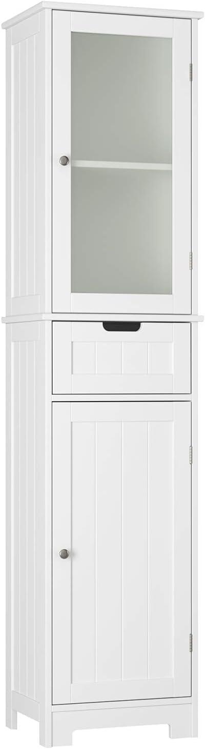 Armario Columna Mueble Alto de Baño Mueble Alto de Almacenamiento para Baño Dormitorio Salón Oficina con 2 Puertas y 1 Cajón de Madera Blanco 40x30x170 cm