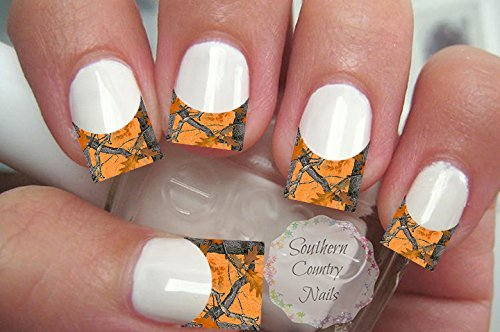 20 Nail Art Decals French Tip Orange Camo
