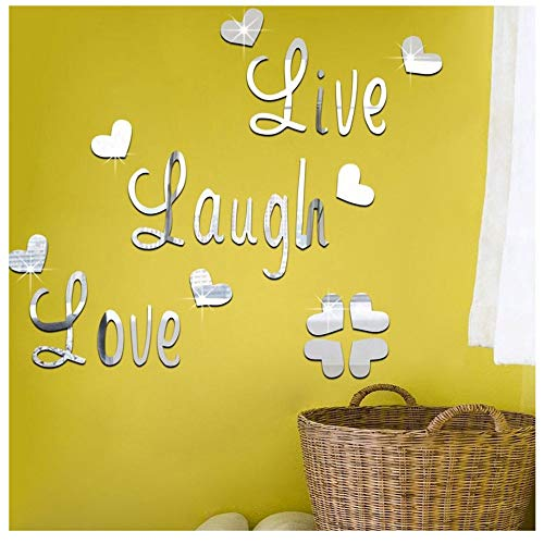 Wociaosmd Live Laugh Love Removable Wall Art Stickers Mirror Decal DIY Room Decals Home Decor (Silver)