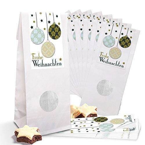 25 kleine witte papieren zakjes cadeauzakjes gebak MET venster en pergamijn inleg (7 x 4 x 21,5 cm) + sticker (5 x 15 cm) kerstballen groen beige shabby vintage Vrolijk Kerstmis