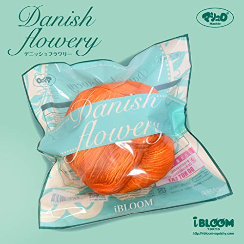 iBloom Danish Flowery Realistic Bread Big Slow Rising Squishy Toy (Blood Orange Scented) Birthday Gift Bags, Party Favors, Pretend Play, Stress Balls, Prop Decoration for Kids, Girls, Boys, Adults