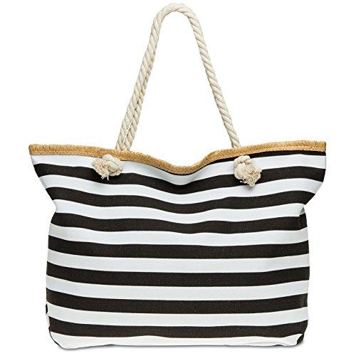 Caspar TS1025 große XXL Damen Marine Strandtasche, Farbe:schwarz, Größe:One Size