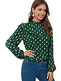 SOLY HUX Women's Frill Trim Long Sleeve Metallic Dots Print Top Blouse Green L