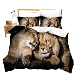 Homewish Wild Animals Duvet Cover Set Lions with Black Base Quilt Cover Set for Couples familiy 3D Print Microfiber Polyester Comforter Cover Set with Zipper Closure and Corner Ties (King)