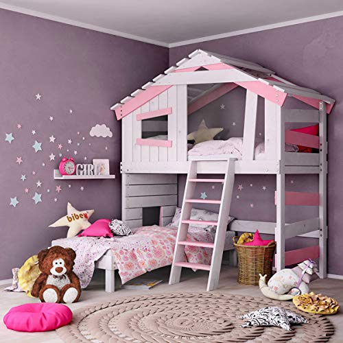Jugend- und Kinderbett, Mädchenbett, Doppelbett, Etagenbett, Spielhaus in zartem Creme-weiß/Zart-rosa (ohne Zubehör)