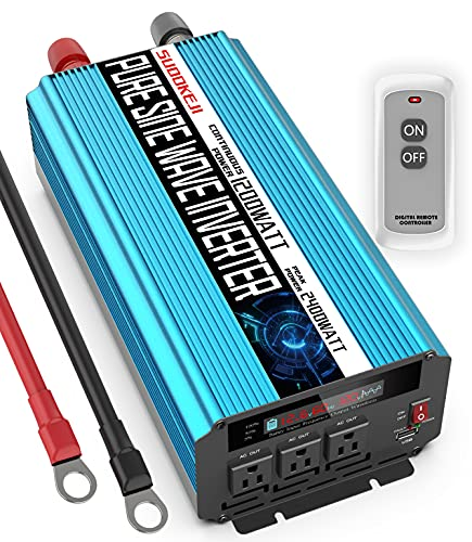 SUDOKEJI Pure sine Wave Power Inverter 1200W 12V DC to AC 110V/120V Converter 3 Socket car Inverter, 2 USB Ports Wireless Remote Control and LCD Display Dual Cooling Inverter, Suitable for CPAP RV