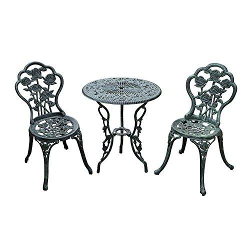 Outsunny Cast Aluminium Outdoor Patio Garden Bistro Elegant Design Table Chair Set - Green (3-Piece)