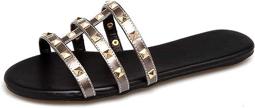 RSHENG Pantoufles femme, femme, femme, sandales personnalité rivet pantoufles grande taille pour meubles d'été cae