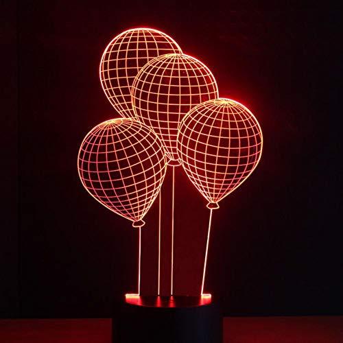 Yujzpl 3D-illusielamp Led-nachtlampje, USB-aangedreven 7 kleuren Knipperende aanraakschakelaar Slaapkamer Decoratie Verlichting voor kinderen Kerstcadeau-Ballon vliegen