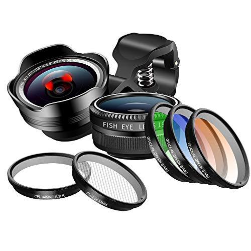 Professionelle Smartphone-Objektivkamera für iOS Android + Weitwinkel + Makro + Filter + Fischauge + Sternfilter Sechs Linien 8-in-1 Objektiv-Riemenscheibe