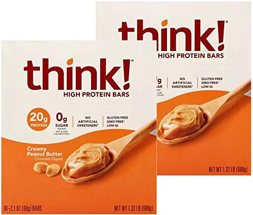 Think Thin 20 Pack (2 x Caja de 10) (1.200g) - (Mantequilla de maní cremosa)