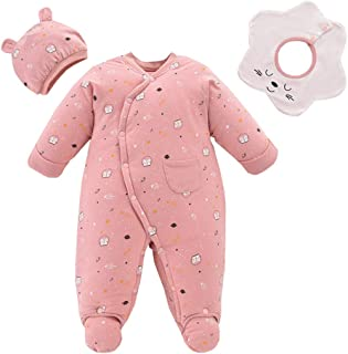 Xifamniy Infant Baby 3pcs Sets Cat Pattern Side Open Thicken Romper Cute Bib and Hat