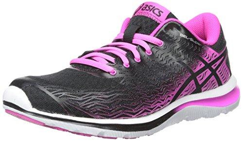ASICS Zapato de running Gel-Super J33 2-W para mujer, negro / rosa brillante / plateado, 7 M US