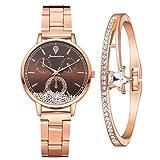 Damenuhr Roségold Uhr Minimalistisch Damen Armbanduhr Paar Uhren Elegant Wasserdicht Armbanduhr Lässige Uhren für Frauen Mädchen Ultradünne Set mit Armreif(Braun)