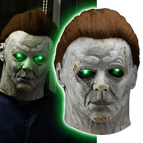 LED Light Up Michael Myers Mask Halloween Murderer Killer Creepy Full Face Latex Mask Cosplay Party Costume Props