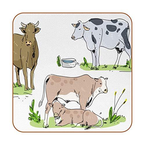 Bennigiry Juego de 6 posavasos para bebidas de vaca en la granja de ganado dibujado a mano para el hogar, taza de café, cerveza