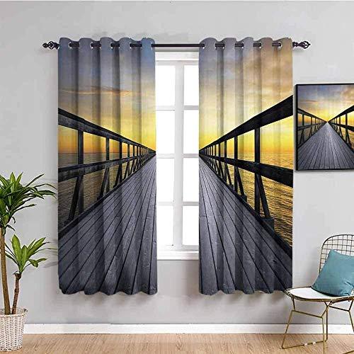 Nileco Cortinas de Opacas - Puesta de sol cielo playa puente de madera - 264x160 cm - 3D Impresión Digital con Ojales Aislamiento Térmico - para Sala Cuarto Comedor Salon Cocina Habitación