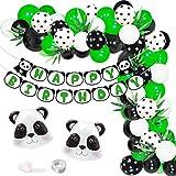 Panda Birthday Decorations for Girls Boys Balloon Garland Kit, Panda Party Supplies for 1st 2nd 3rd Birthday Happy Birthday Banner