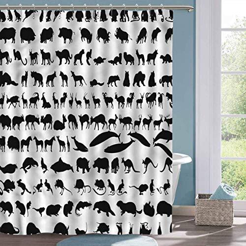 Weißer Duschvorhang Zoo Animal Silhouettes Habitat Home Decor Duschvorhang