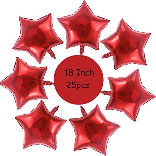 Gxhong 25 Piezas globos estrella Rojo, 18 Globos de papel de aluminio de globos de helio de románticos globos para cumpleaños, bodas, día de San Valentín, decoración de fiesta de Navidad