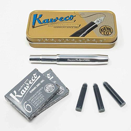 Kaweco Al Sport Füllhalter für Patronen aus Aluminium roh achteckig | Füllhalter mit Feder M | Kaweco Set mit Füller Patronen | 12 Patronen mit Kaweco Tinte in Grau GRATIS