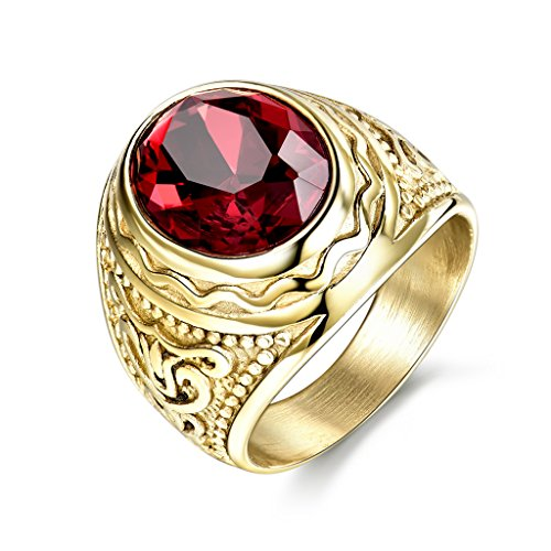 MASOP Lunxury Grabado Anillo de Acero Inoxidable para Hombre Rojo sintética Ruby con Cristales de Color Dorado Boda Banda Anillos