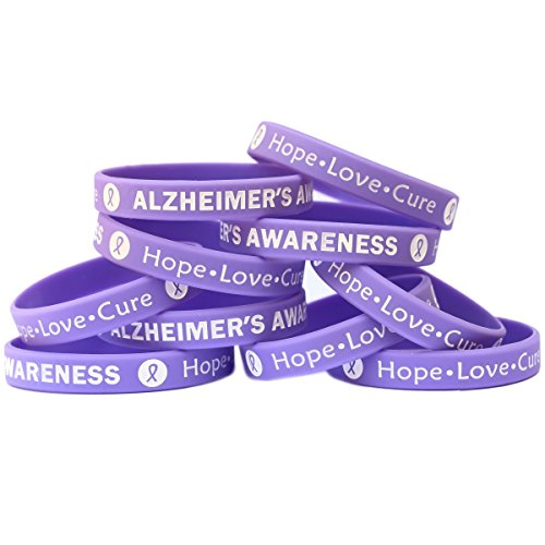 SayitBands 15 Alzheimer's Awareness Wristband Silicone Bracelets Purple