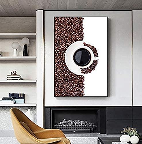 Sztuka ścienna obraz na płótnie ziarna kawy owoc borówka obraz wysoka herbata plakaty nadruki sztuka ścienna obrazy do kawiarni kawiarni kawiarni sklepu dekoracja 23,6 x 31,5 cala (60 x 80 cm) bez ramki