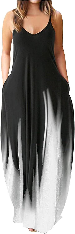 Jaqqra Summer Dress for Women Patchwork Print O Neck Spaghetti Strap Dress Long Maxi Dress Casual Sundress with Pockets