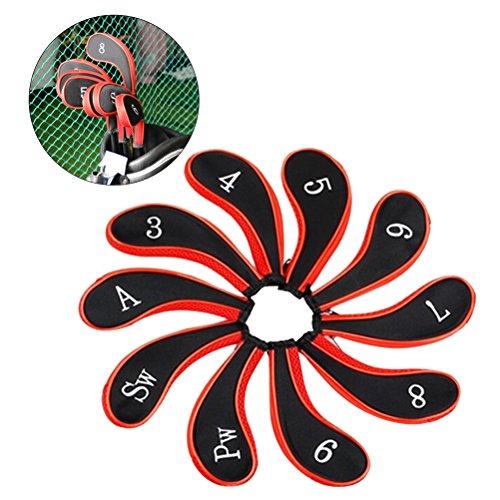 Winomo Golfschläger-Hauben aus Neopren, Abdeckung für Golfschläger, Schwarz, Rot, 10 Stück