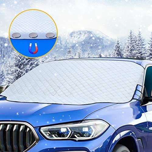 Tchipie Frontscheibenabdeckung Auto mit Magnet, Windschutzscheibenabdeckung Winter, Eisschutzfolie Windschutzscheibe, Scheibenabdeckung für Frontscheibe, gegen Schnee EIS Sonne für PKW SUV(147x116cm)