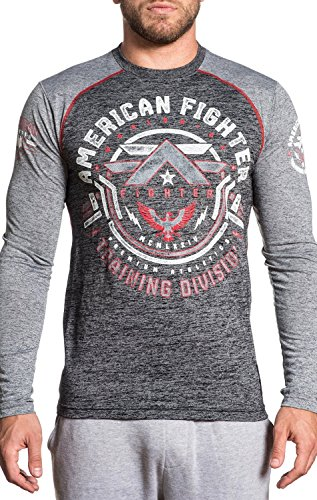 American Fighter Catalina Graphic Long Sleeve T-Shirt for Men by Affliction Black/Heather Grey