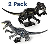 Set of 2 Large Jurassic Dinosaurs Baryonyx and Raptor Dinosaur Building Blocks with Movable Limbs - Safe Plastic Dino Toys with a Reusable Storage Bag