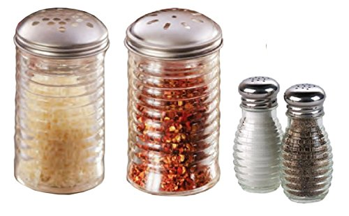 4 PC Beehive Shaker Set - Cheese & Red Pepper (12 ounce) Salt and Pepper (2 ounce) Beehive Glass,Stainless Steel Lids, Large Holes For Cheese, Slotted holes for Pepper or other Spices.
