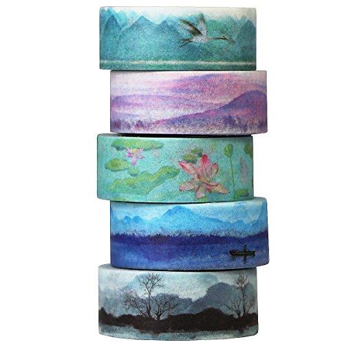Gouert 5 Rollen Washi Tape Aquarell Set Dekorative Klebeband buntes Klebebänder Landschaftsmalerei Design Dekoband Masking Tape für DIY Craft Scrapbooking Geschenkpapier