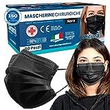 50 Mascherine CHIRURGICHE NERE per Adulti Certificate CE italia Tipo IIR BFE ≥ 98% Mascherina Chirurgica colorata NERA italiana Uomo Donna in 5 confezioni da 10 [50 Pezzi]