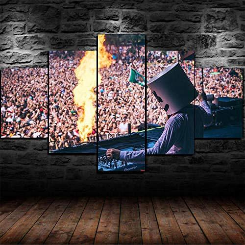 MENGLE Impresiones sobre Lienzo 5 Piezas Cuadros En Lienzo Modernos Dormitorios Murales Pared Lona XXL Grande Hogar Cuadros Decoración Salón 125X60Cm Concierto DJ Live Regalo Navidad