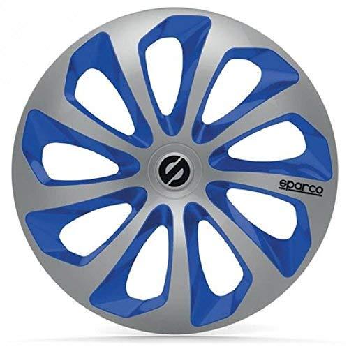 SPARCO SPC1373SVBL Enjoliveur Sicilia, Argent/Bleu, Set de 4, 13\