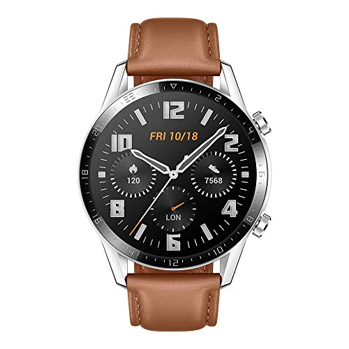 HUAWEI Watch GT 2 Smartwatch 46 mm, Durata Batteria fino a 2 Settimane, GPS, 15 Modalità di Allenamento, Display del Quadrante in Vetro 3D, Chiamata Tramite Bluetooth, Pebble Brown (Ricondizionato)