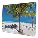 Tropische Insel mit Strandmauspadmuster und Palmen, Sonnenliegen, Paradies, Entspannung, Sommerbild, Premium-strukturierte Mausmatte, grün, blau, weiß, Es
