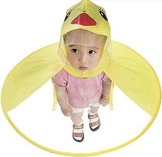 Duck Raincoat - Aolvo UFO Raincoat Cute Cartoon Duck Umbrella for Kids Foldable Toddler Rain Jacket Hands Free Poncho Wate...