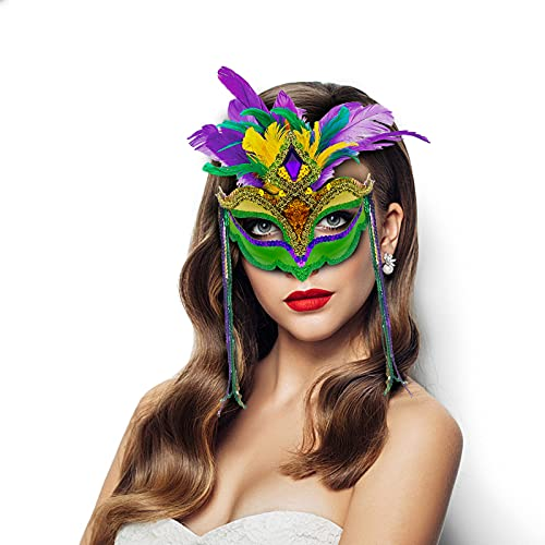Mardi Gras Mask with Feathers Women Masquerade Mask Feather Masquerade Mask Halloween Mardi Gras Cosplay Costumes Venetian Party Mask Venetian Halloween Costumes Party Favors