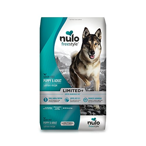 Nulo All Natural Dog Food: Freestyle Limited Plus Grain Free Puppy & Adult Dry Dog Food - Limited Ingredient Diet for Digestive & Immune Health - Allergy Sensitive Non GMO Salmon Recipe - 10 lb Bag