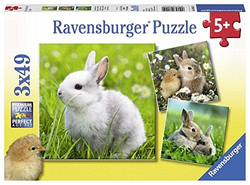Ravensburger Kinderpuzzle 08041 - Niedliche Häschen - 3 x 49 Teile