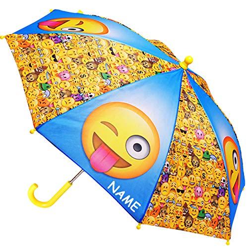 alles-meine.de GmbH Regenschirm -  Emoji - Emoticon Icons  - inkl. Name - Kinderschirm Ø 70 cm / groß Stockschirm mit Griff - Kinder - Regenschirme - für Jungen Mädchen - Schir..