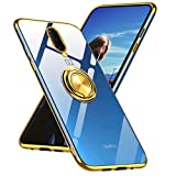 OnePlus 7 ProCase,1+ 7 Pro Case Clear Ultra Slim Fit Soft TPU Silicone Case with Ring Holder Kickstand Flexible Electroplated Edge Crystal Clear Cover Case for OnePlus 7 Pro Clear Gold