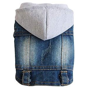 Roblue Jeans Veste Cool Denim Manteau pour Chiot Chiens Animaux de Compagne avec Capuche Bleu