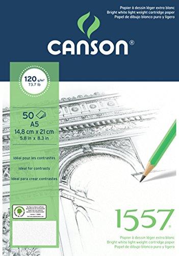 Canson 204127407 1557 Zeichen-und Skizzenpapier, A5, rein weiß